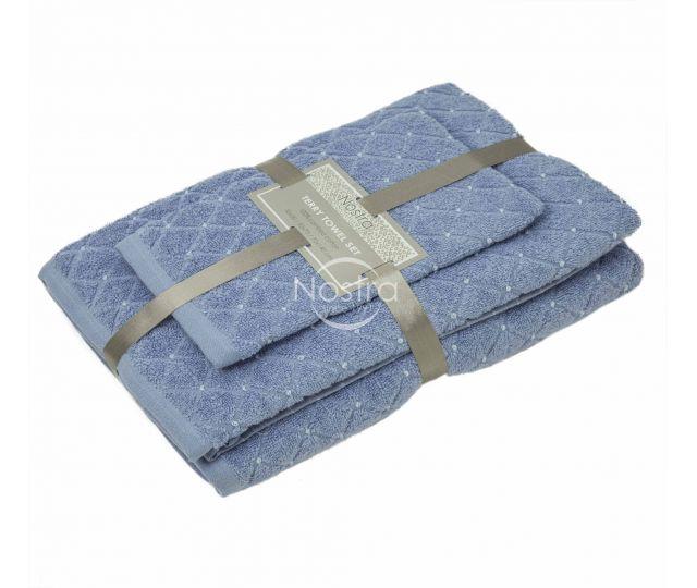 3 dalių rankšluosčių komplektas T0107 T0107-SOFT BLUE 30x50, 50x70, 70x140 cm