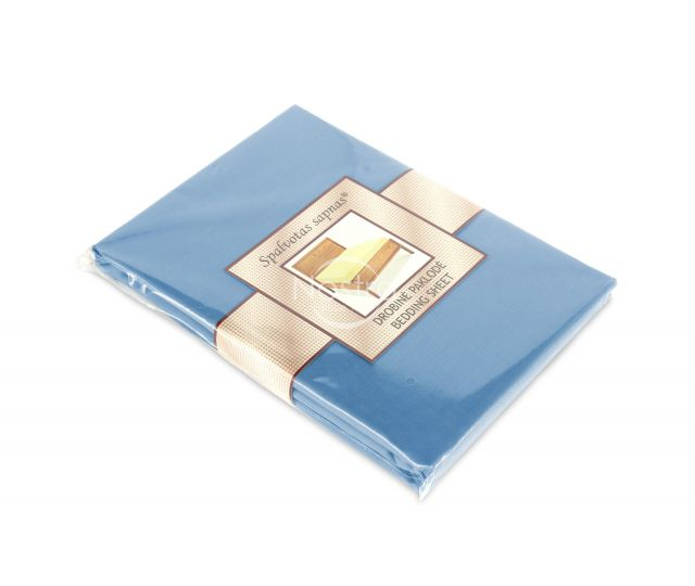 Drobės paklodės su guma 00-0053-LIGHT BLUE