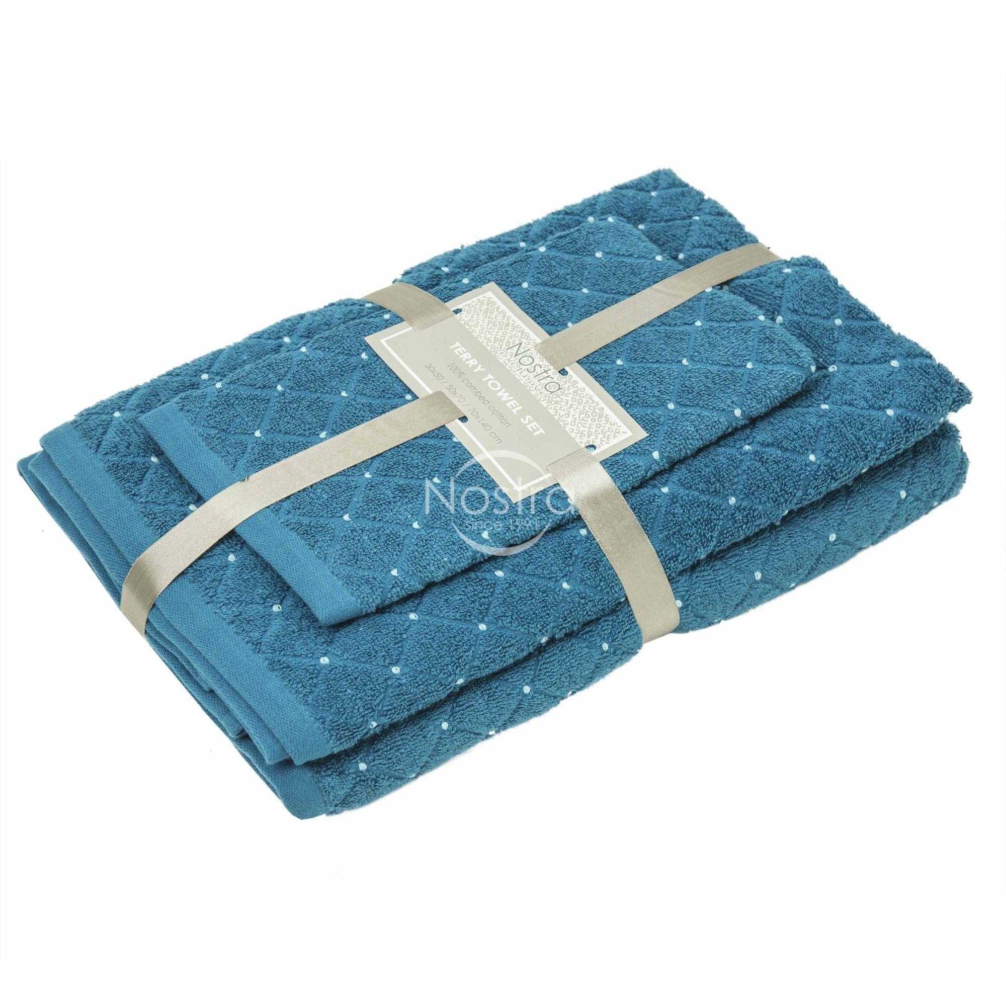 3 dalių rankšluosčių komplektas T0107 T0107-MOSAIC BLUE 30x50, 50x70, 70x140 cm