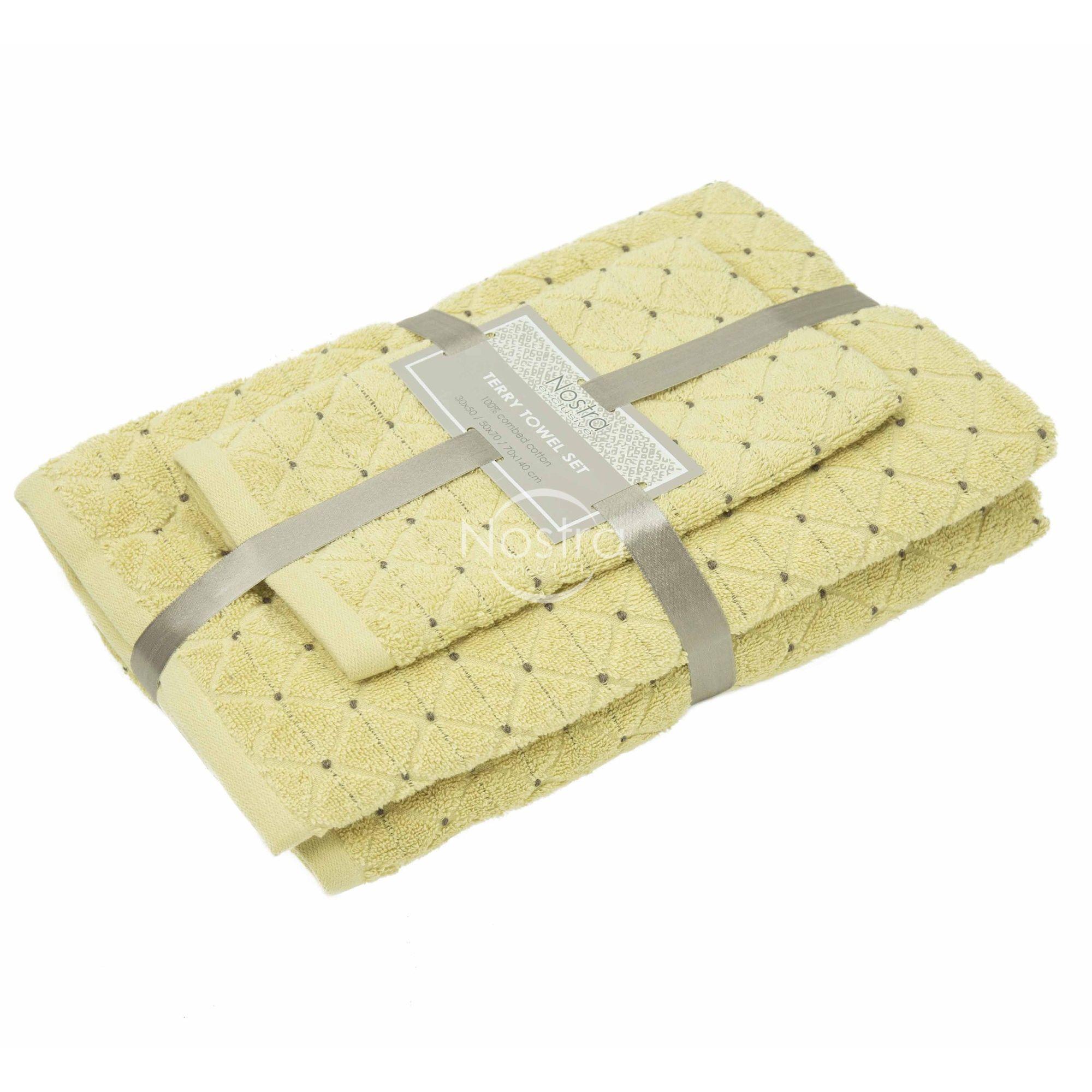 3 dalių rankšluosčių komplektas T0107 T0107-DUSTY YELLOW 30x50, 50x70, 70x140 cm