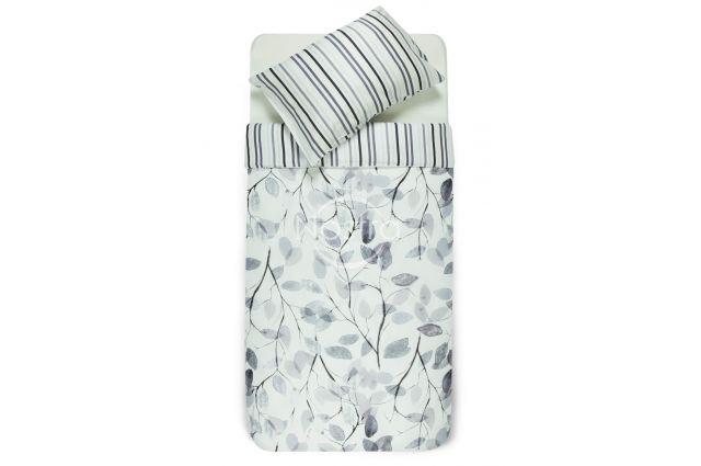 satinine medvilnine balta pilka dryzuota patalyne su lapais