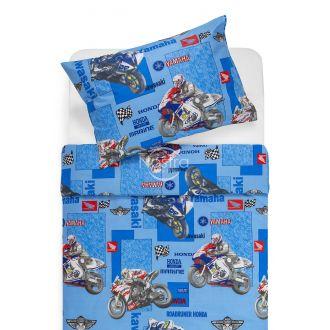 Children bedding set MOTORBIKE 10-0166-BLUE