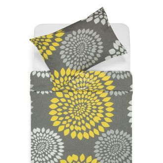 Cotton bedding set DORRIN 40-1159-GREY/YELLOW