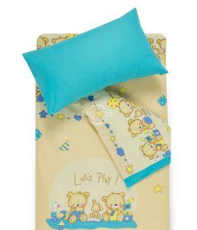 Children bedding set BEARS 10-0215/00-0358-BEIGE/BLUE ATOL